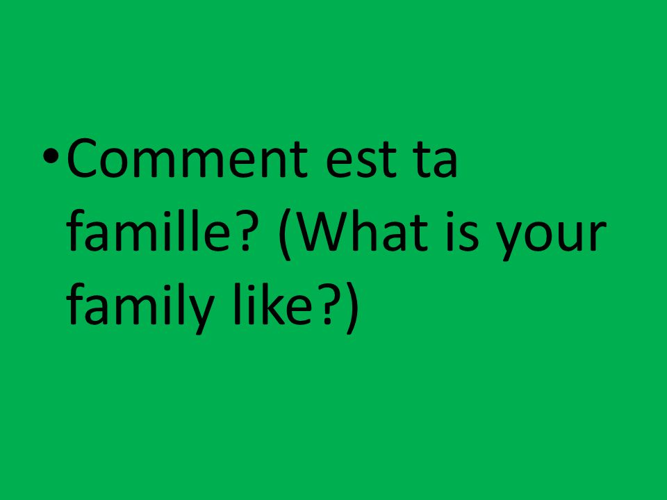 Comment est ta famille? (What is your family like?)
