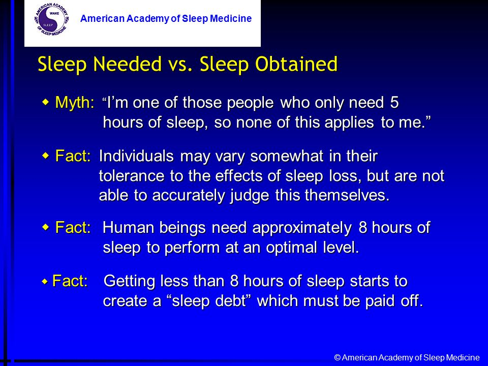 © American Academy of Sleep Medicine American Academy of Sleep Medicine Sleep Needed vs.