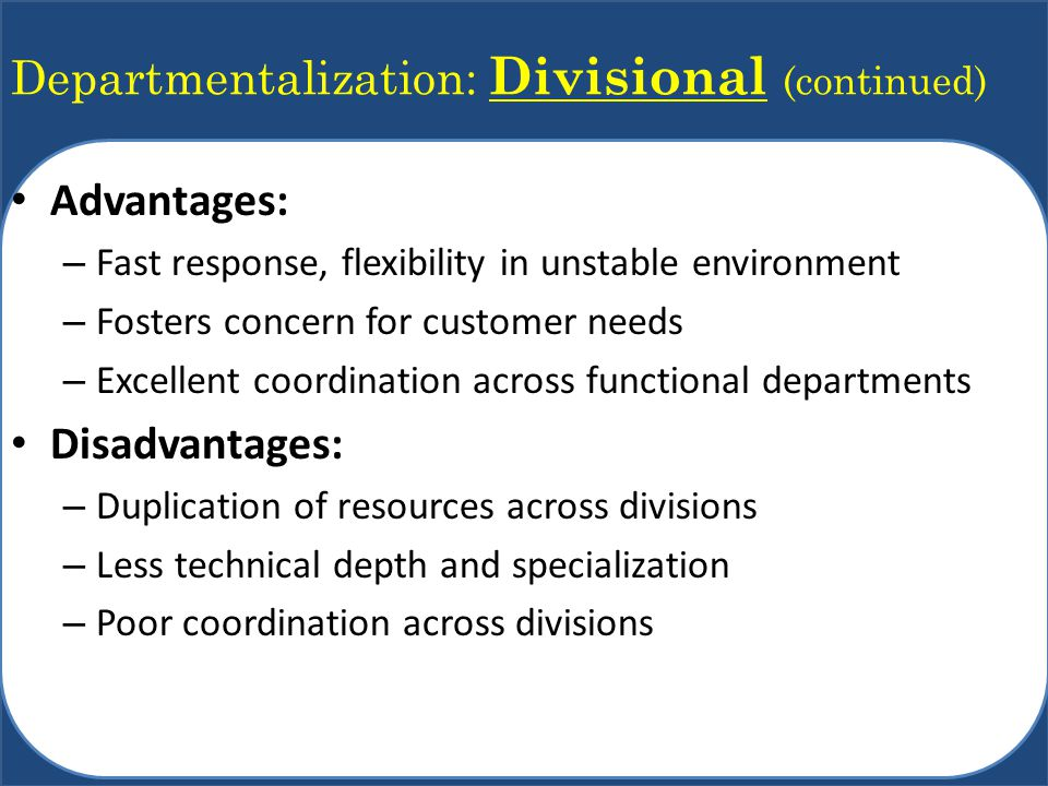 Departmentalization: Divisional (continued) Advantages: – Fast response, flexibility in unstable environment – Fosters concern for customer needs – Ex