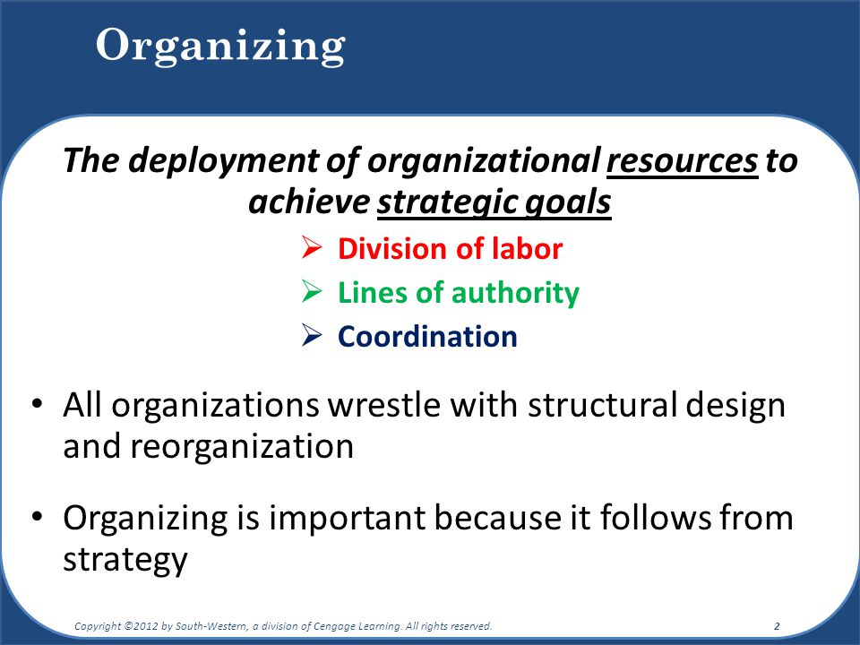 Organizing The deployment of organizational resources to achieve strategic goals  Division of labor  Lines of authority  Coordination All organizat