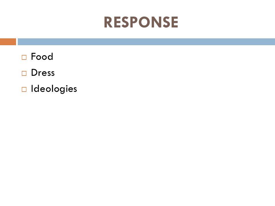 RESPONSE  Food  Dress  Ideologies