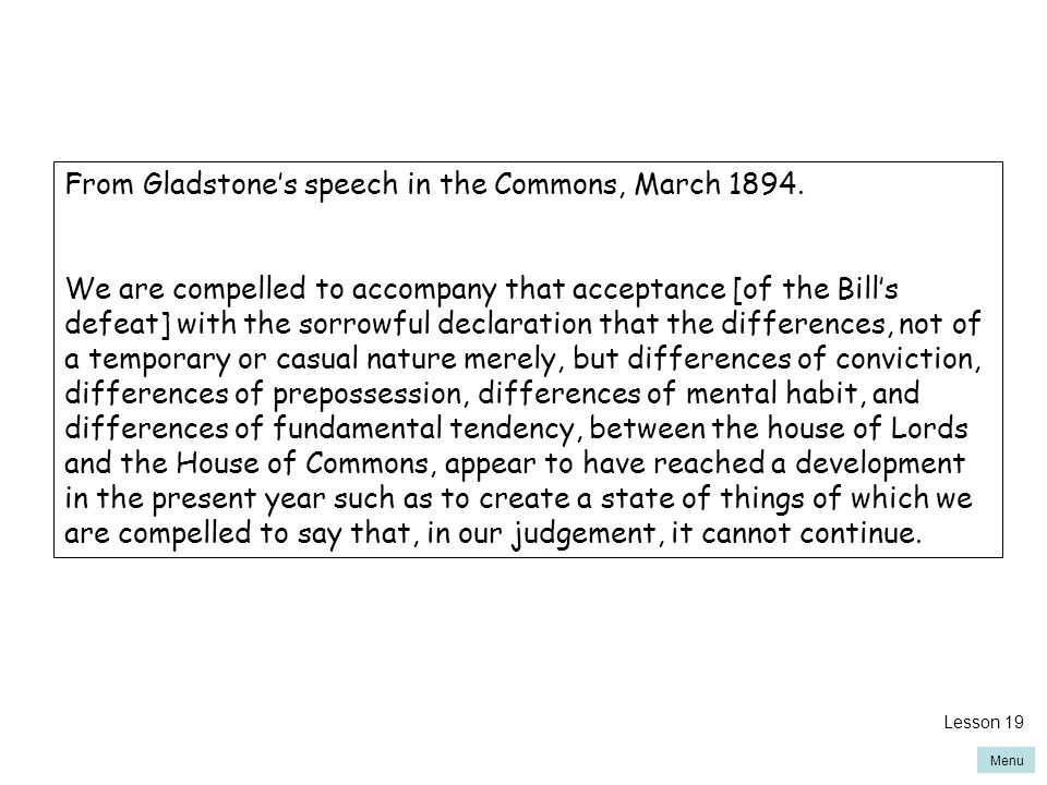 Menu From Gladstone's speech in the Commons, March 1894.