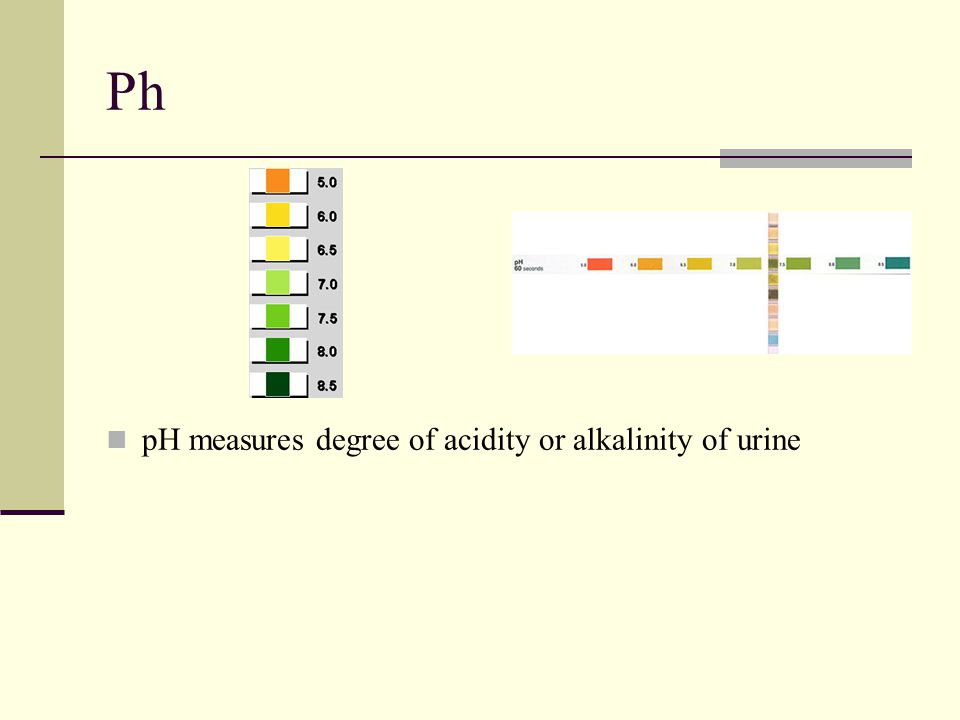 Ph pH measures degree of acidity or alkalinity of urine
