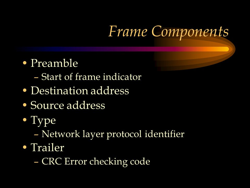 Frame Components Preamble –Start of frame indicator Destination address Source address Type –Network layer protocol identifier Trailer –CRC Error checking code
