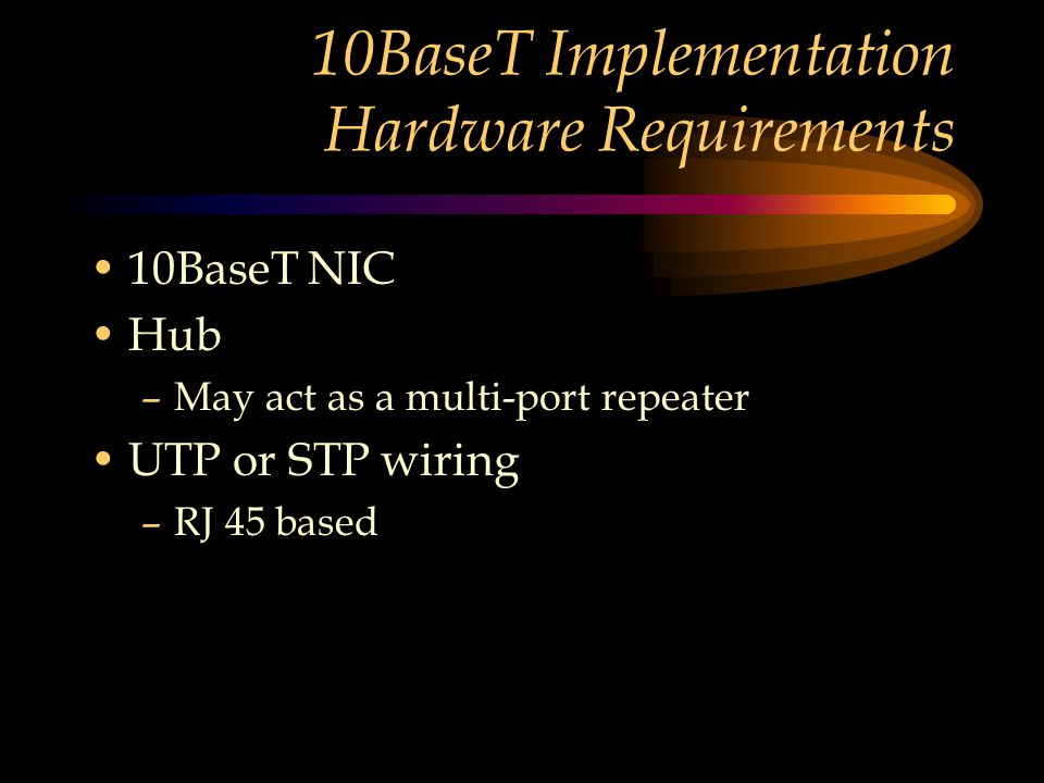 10BaseT Implementation Hardware Requirements 10BaseT NIC Hub –May act as a multi-port repeater UTP or STP wiring –RJ 45 based
