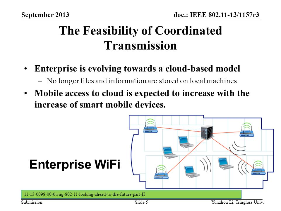 doc.: IEEE 802.11-13/1157r3 SubmissionSlide 5 The Feasibility of Coordinated Transmission Enterprise is evolving towards a cloud-based model –No longe