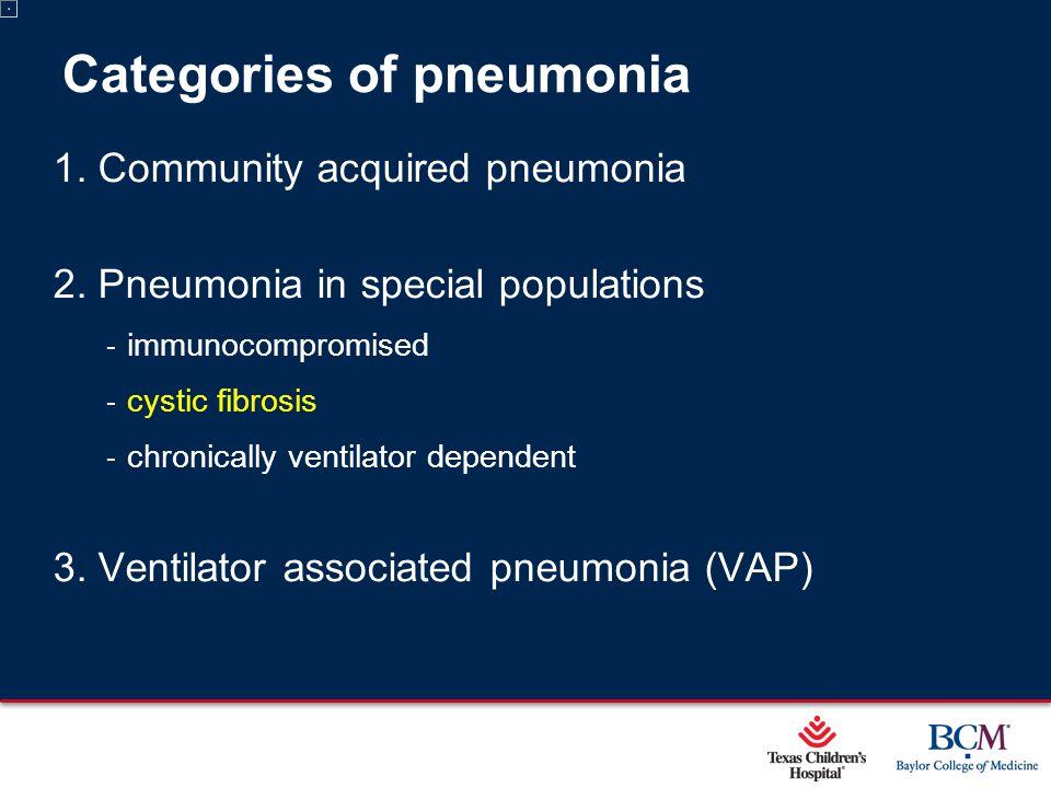 Page 26 xxx00.#####.ppt 5/9/2015 12:01:59 AM Categories of pneumonia 1. Community acquired pneumonia 2. Pneumonia in special populations ‐ immunocompr