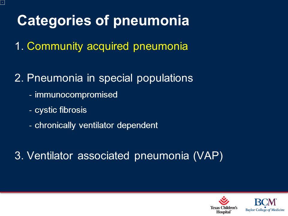 Page 3 xxx00.#####.ppt 5/9/2015 12:01:59 AM Categories of pneumonia 1. Community acquired pneumonia 2. Pneumonia in special populations ‐ immunocompro