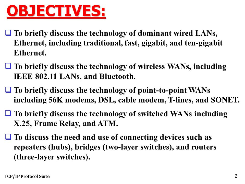 TCP/IP Protocol Suite 2OBJECTIVES:  To briefly discuss the technology of dominant wired LANs, Ethernet, including traditional, fast, gigabit, and ten-gigabit Ethernet.