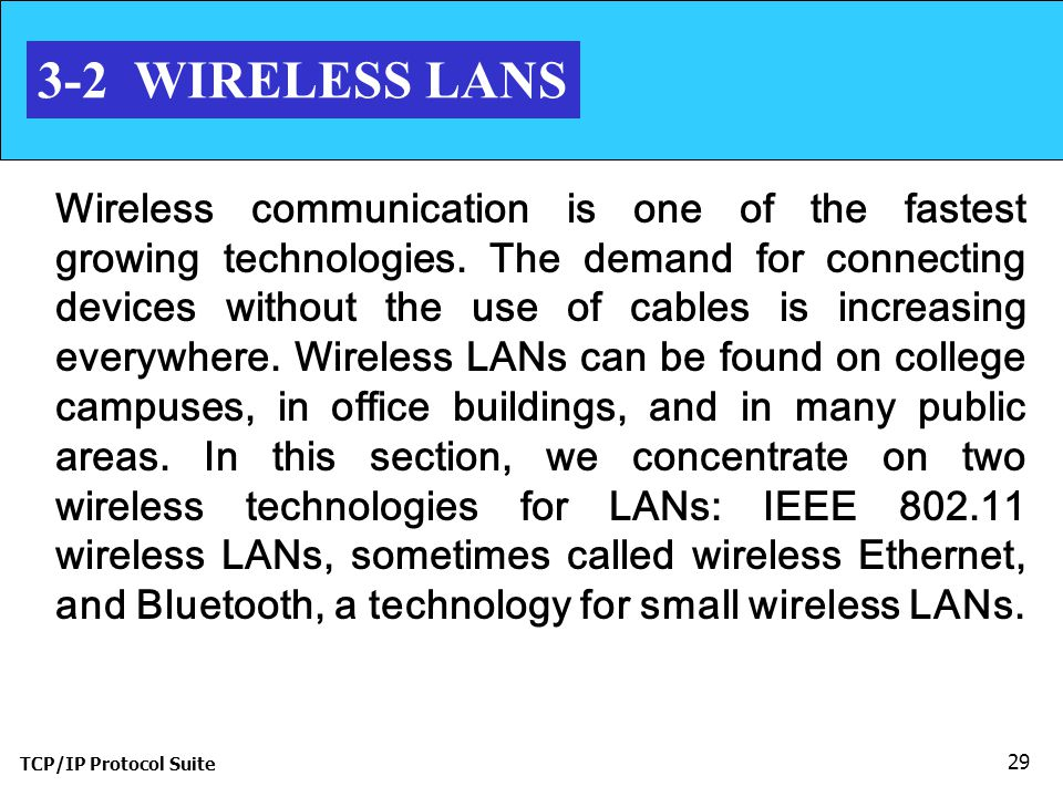 TCP/IP Protocol Suite 29 3-2 WIRELESS LANS Wireless communication is one of the fastest growing technologies.