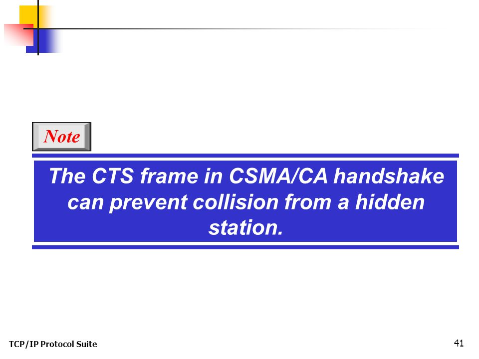 TCP/IP Protocol Suite 41 The CTS frame in CSMA/CA handshake can prevent collision from a hidden station.