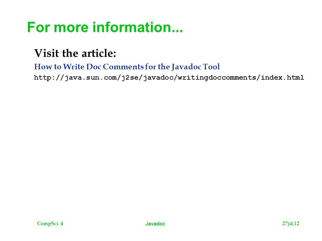 CompSci 427jd.12 Javadoc For more information...