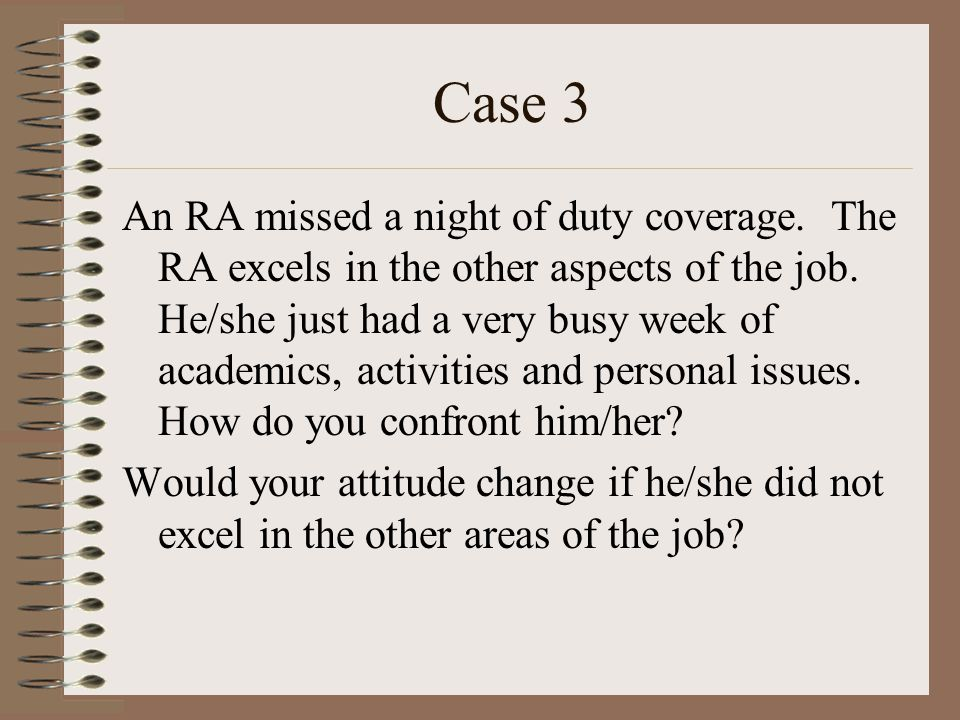 Case 3 An RA missed a night of duty coverage. The RA excels in the other aspects of the job.