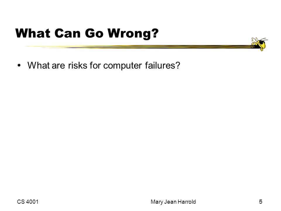 CS 4001Mary Jean Harrold5 What Can Go Wrong? ŸWhat are risks for computer failures?