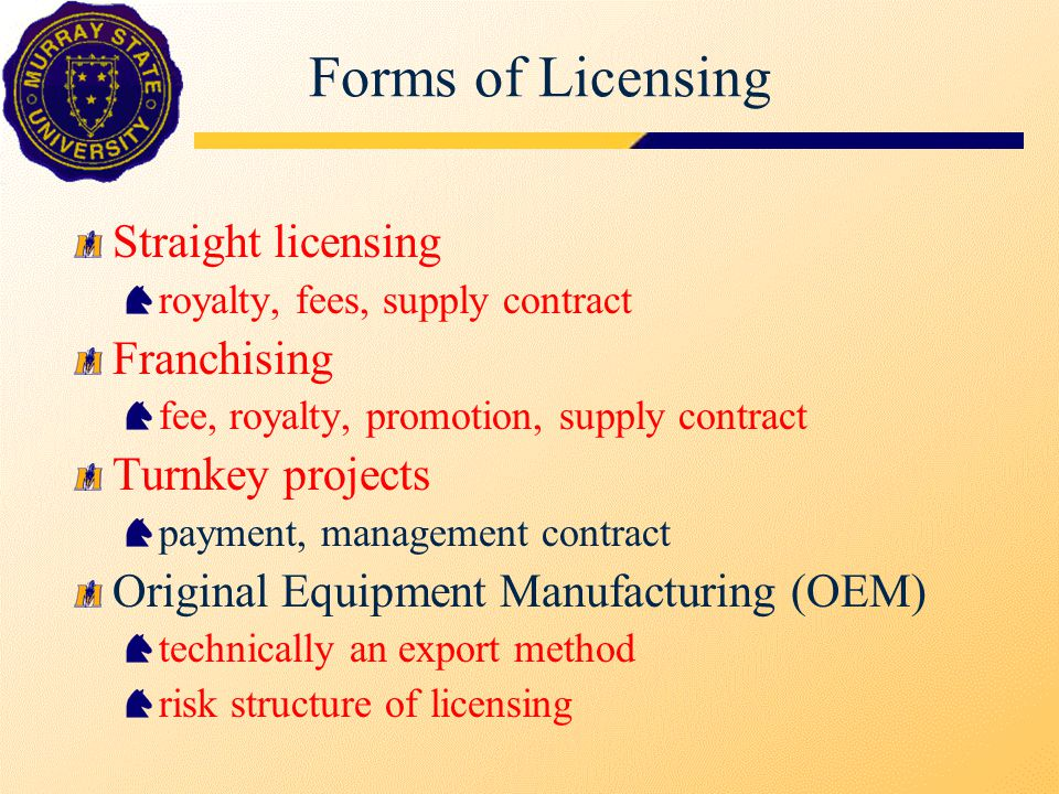 Forms of Licensing Straight licensing royalty, fees, supply contract Franchising fee, royalty, promotion, supply contract Turnkey projects payment, ma