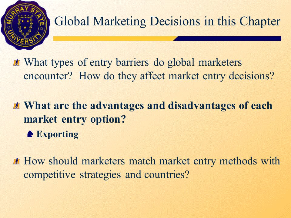 Methods of Entry Entry method exporting - direct, indirect licensing, franchising, contract manufacture/management strategic alliances (activities), joint ventures (equity) foreign direct investment, sales, production, greenfield, acquisition