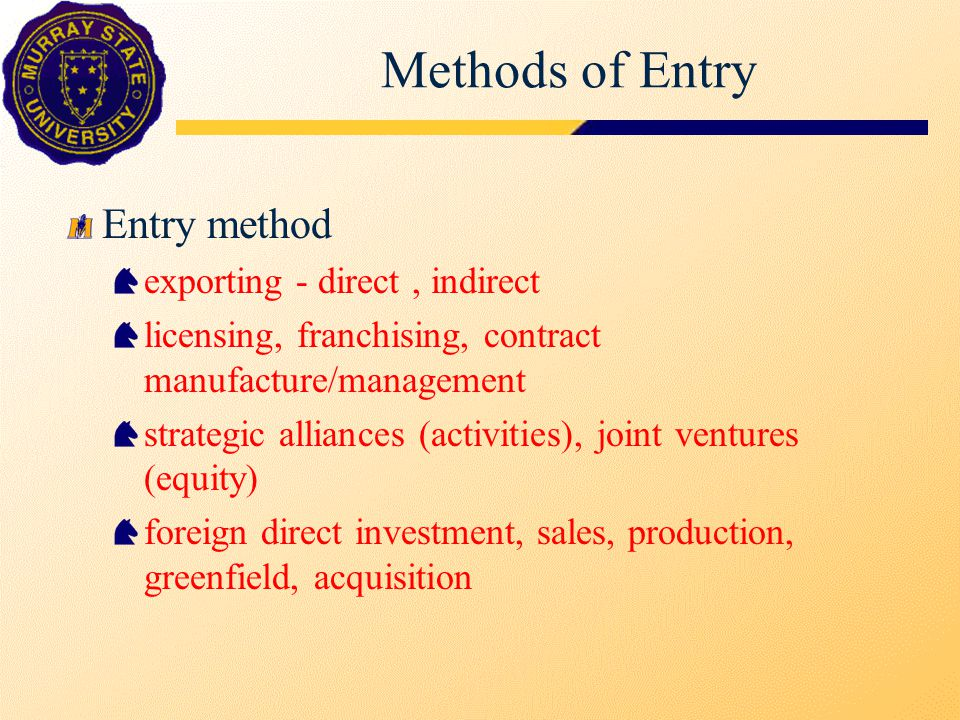 Exporting Activities Direct and indirect exporting The Exporting Job shipping, documentation, legal issues, shipping terms securing local distributors, process and agreement terms getting paid, letter of credit cycle, Trade Card Export Expansion Strategy cultural distance, international learning curve/sequence sprinkler (diversification) and waterfall (focus) strategies