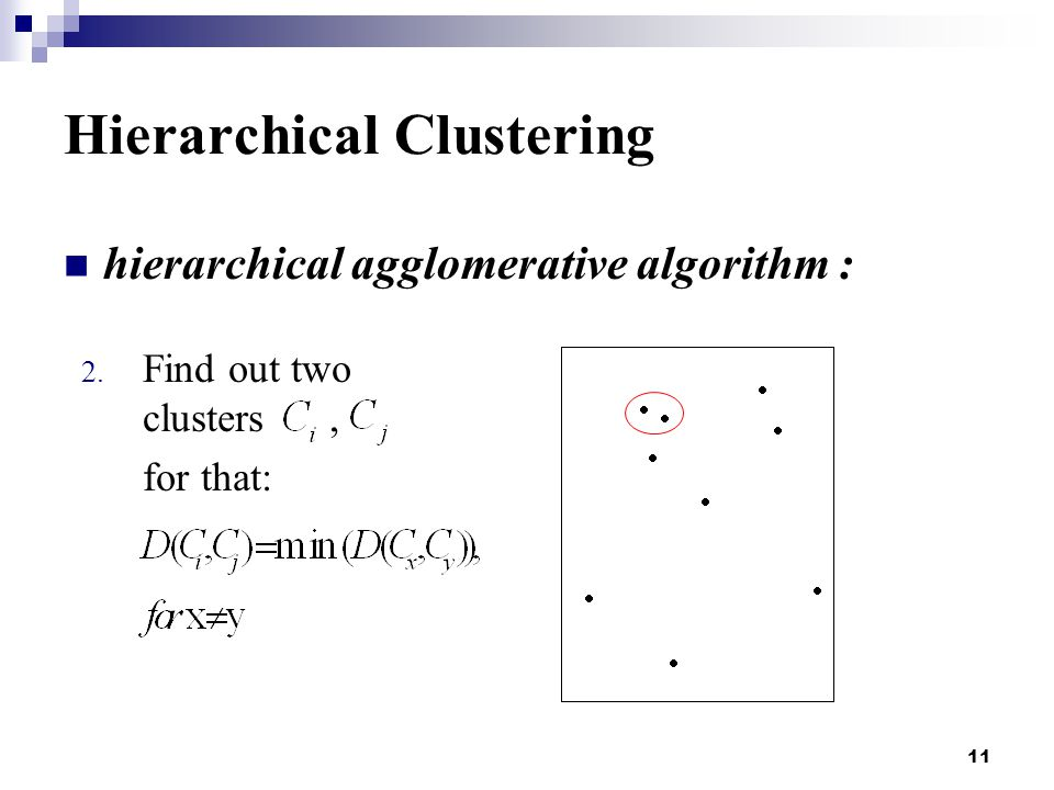 11 Hierarchical Clustering hierarchical agglomerative algorithm : 2.