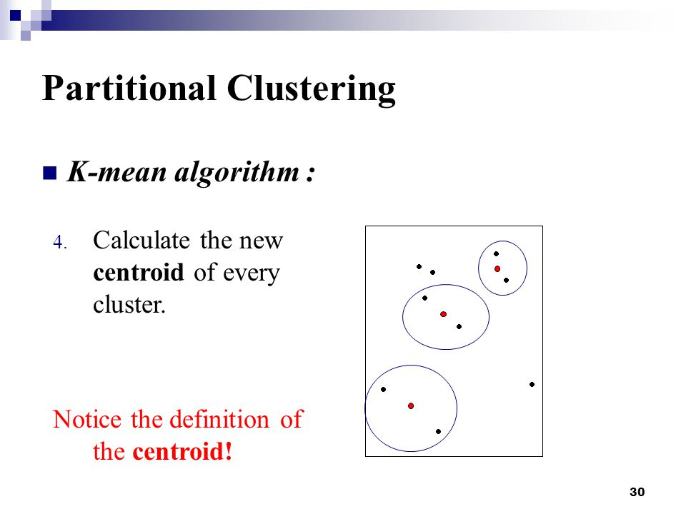 30 Partitional Clustering K-mean algorithm : 4. Calculate the new centroid of every cluster.