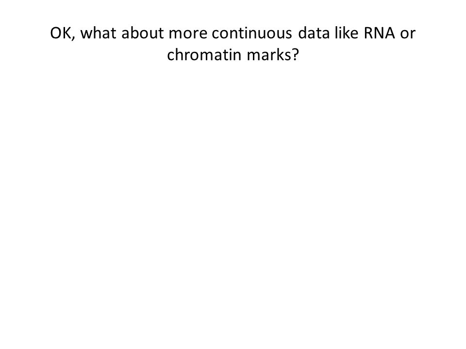 OK, what about more continuous data like RNA or chromatin marks?