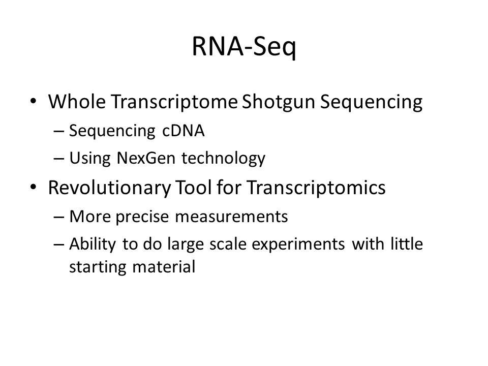 RNA-Seq Whole Transcriptome Shotgun Sequencing – Sequencing cDNA – Using NexGen technology Revolutionary Tool for Transcriptomics – More precise measu