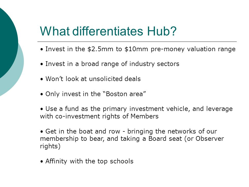 What differentiates Hub? Invest in the $2.5mm to $10mm pre-money valuation range Invest in a broad range of industry sectors Won't look at unsolicited