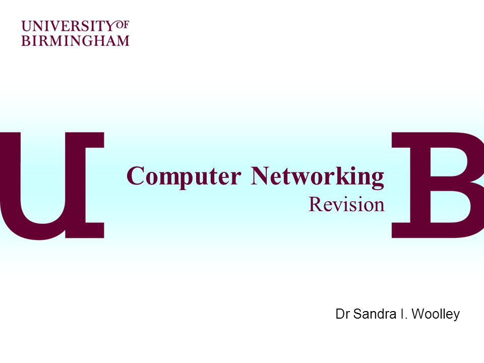 Computer Networking Revision Dr Sandra I. Woolley