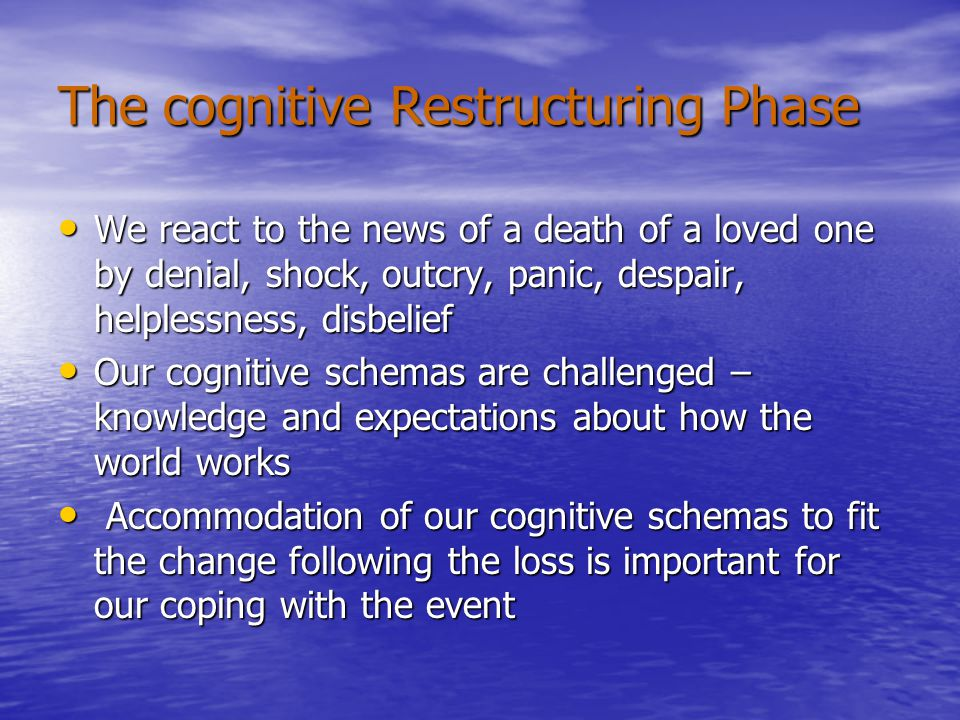 The Psycho-Spiritual Transformation Phase A close death may trigger a profound, growth- oriented transformation that fundamentally changes beliefs and attitudes about life, death, love, compassion and the sacred A close death may trigger a profound, growth- oriented transformation that fundamentally changes beliefs and attitudes about life, death, love, compassion and the sacred Human beings have natural drive towards transcendence, spirituality and religion Human beings have natural drive towards transcendence, spirituality and religion With honesty and time to address the complex cognitions and emotions involved, the experience of watching a loved one die can potentially be transformative With honesty and time to address the complex cognitions and emotions involved, the experience of watching a loved one die can potentially be transformative