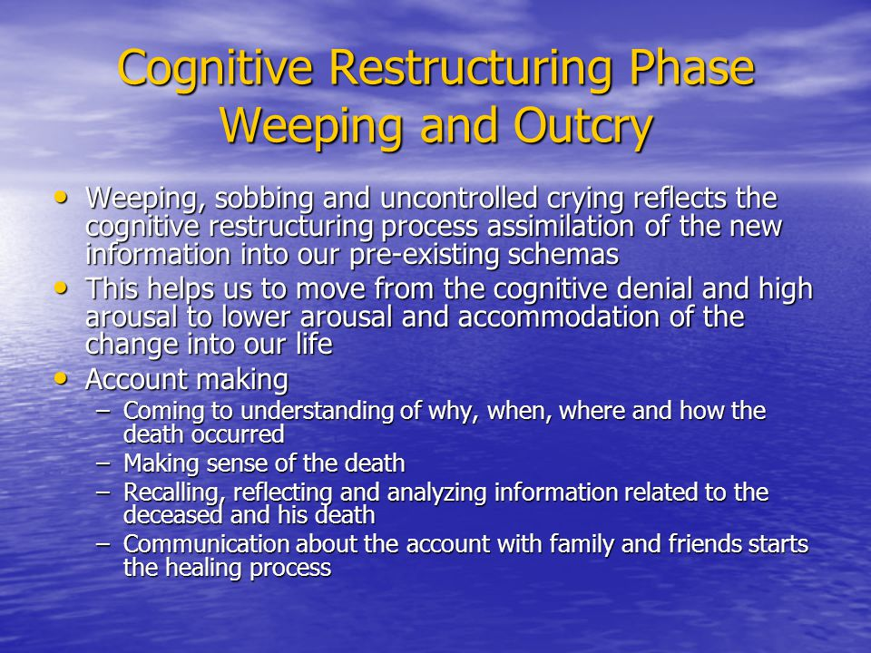 Cognitive Restructuring Strategies Cognitive restructuring based on the past Cognitive restructuring based on the past –Focus on the habits, behaviors, lifestyle, health- related practices of the deceased (e.g.