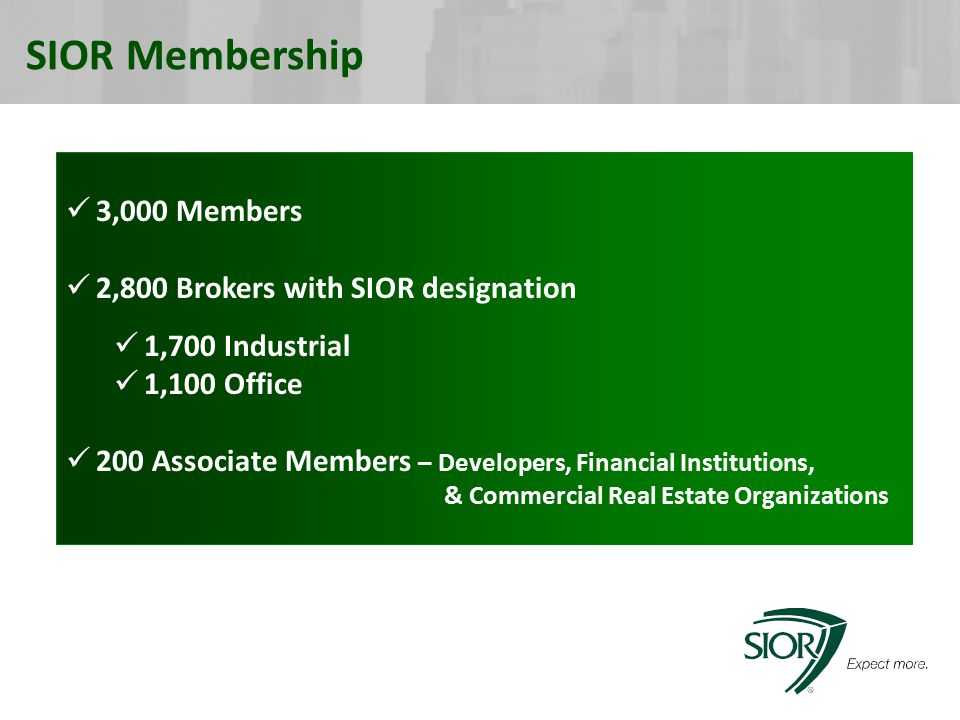 SIOR Membership 3,000 Members 2,800 Brokers with SIOR designation 1,700 Industrial 1,100 Office 200 Associate Members – Developers, Financial Institutions, & Commercial Real Estate Organizations