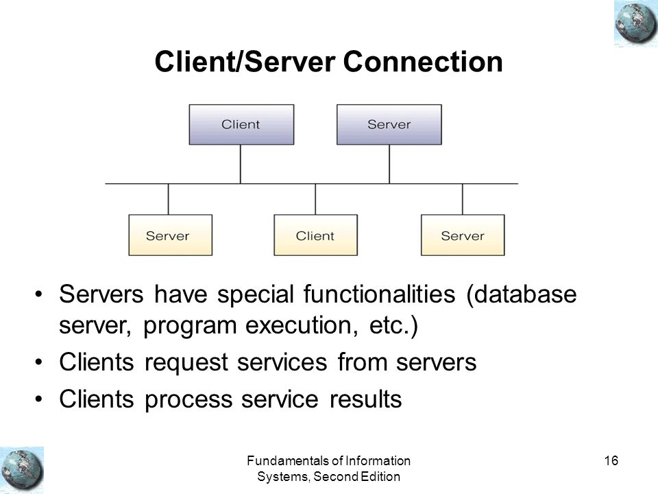 Fundamentals of Information Systems, Second Edition 16 Client/Server Connection Servers have special functionalities (database server, program executi