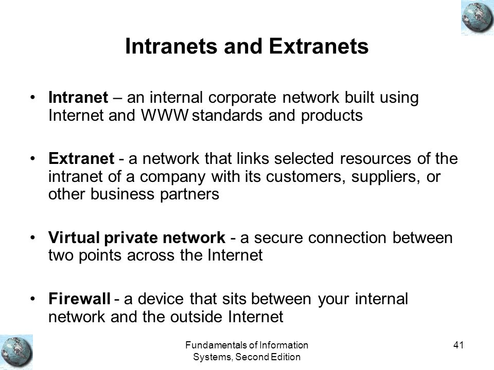 Fundamentals of Information Systems, Second Edition 41 Intranets and Extranets Intranet – an internal corporate network built using Internet and WWW s