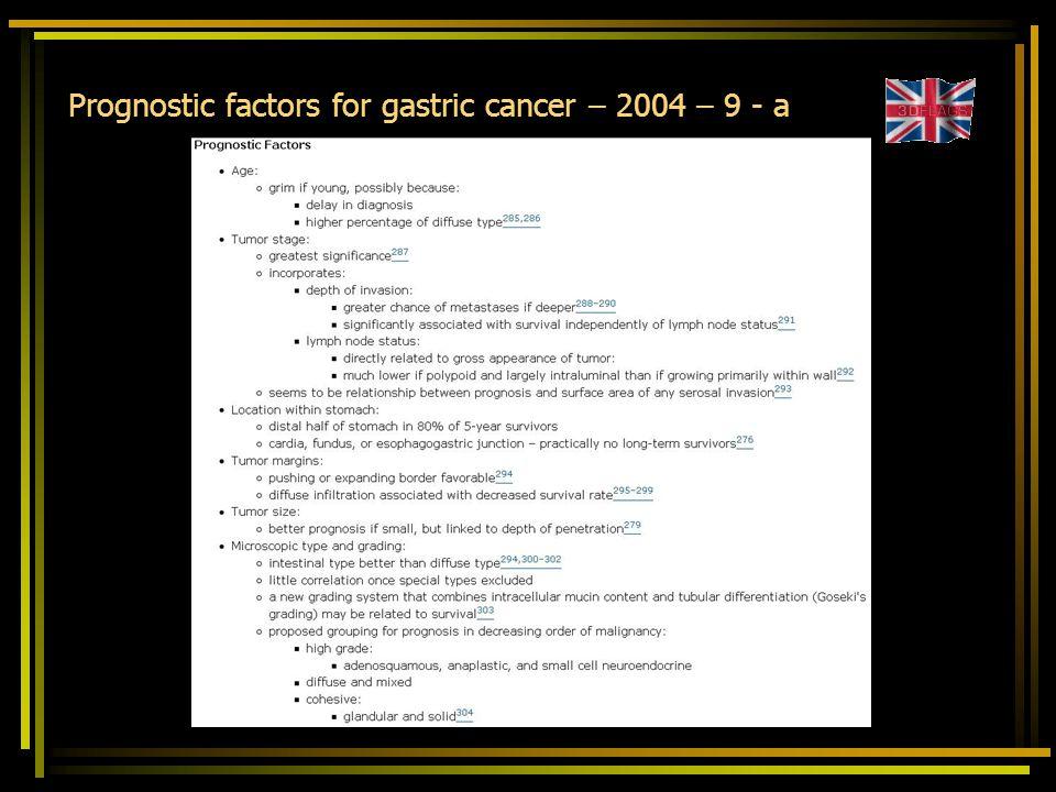 Prognostic factors for gastric cancer – 2004 – 9 - a