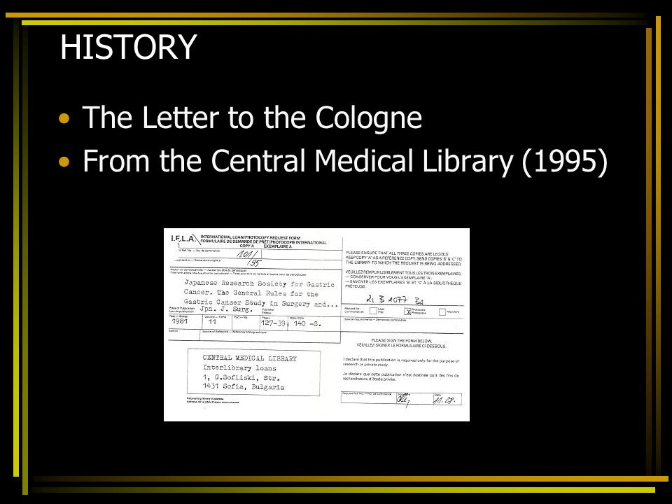 HISTORY The Letter to the Cologne From the Central Medical Library (1995)