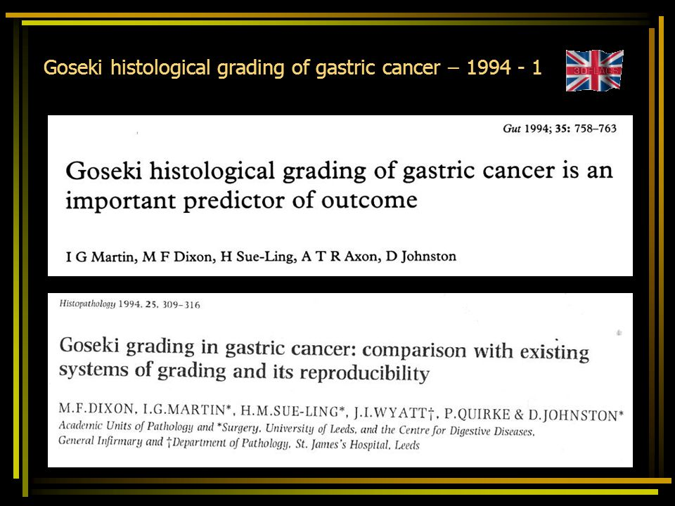 Goseki histological grading of gastric cancer – 1994 - 1