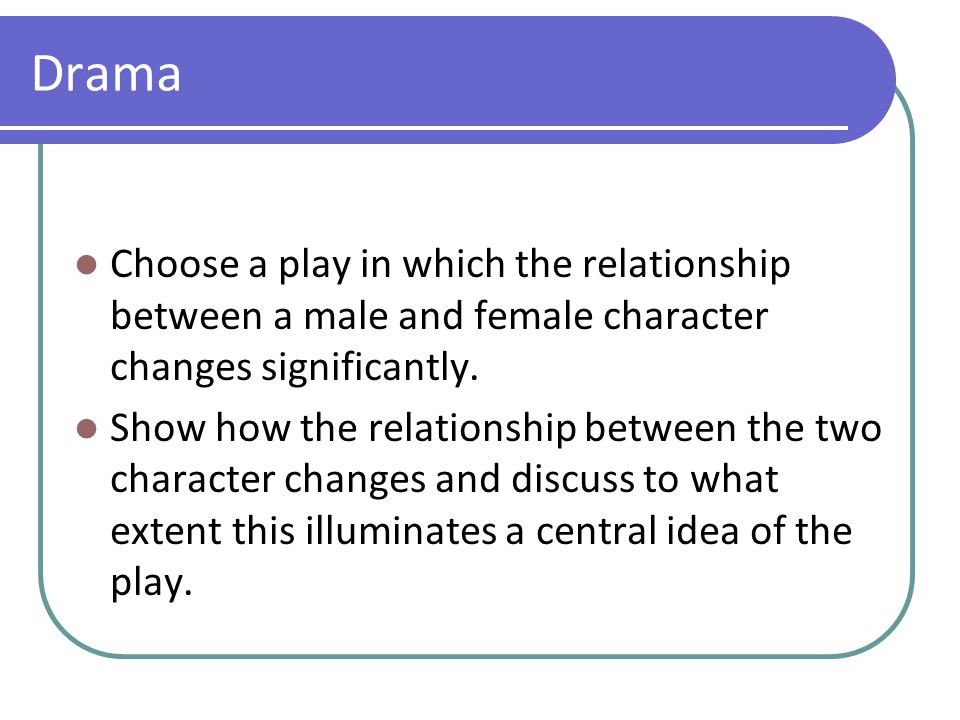 Drama Choose a play in which the relationship between a male and female character changes significantly. Show how the relationship between the two cha