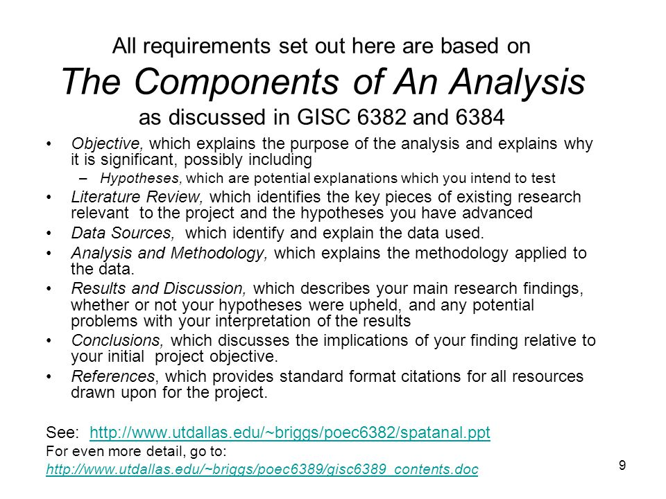 9 All requirements set out here are based on The Components of An Analysis as discussed in GISC 6382 and 6384 Objective, which explains the purpose of