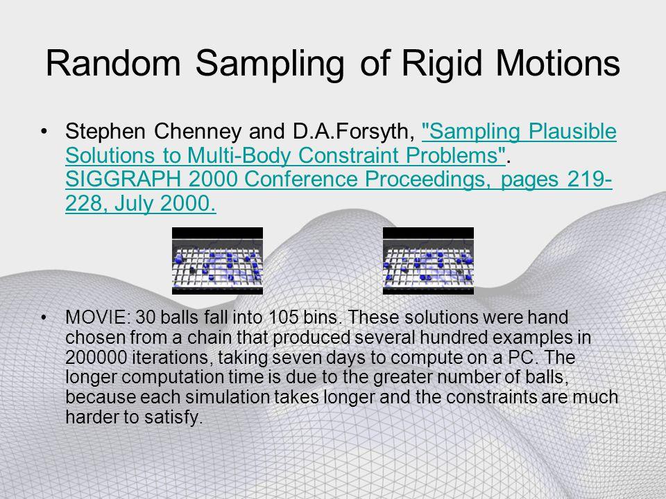 Random Sampling of Rigid Motions Stephen Chenney and D.A.Forsyth,
