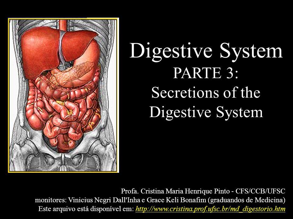 Digestive System PARTE 3: Secretions of the Digestive System Profa. Cristina Maria Henrique Pinto - CFS/CCB/UFSC monitores: Vinicius Negri Dall'Inha e