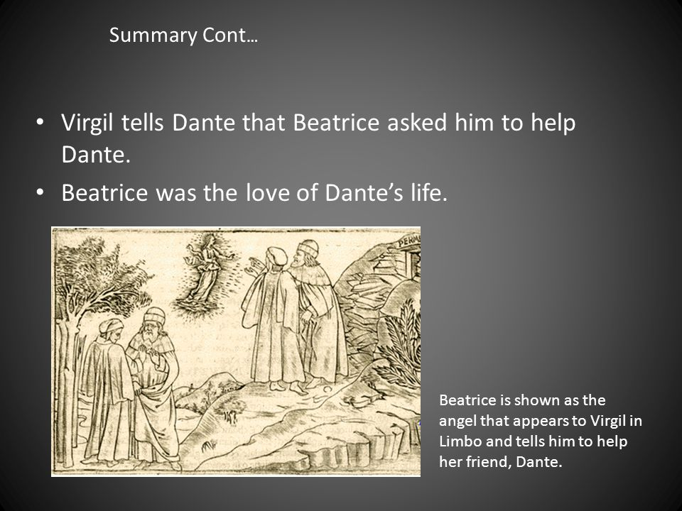 Summary of Canto II cont… Dante is scared.Who wouldn't be.