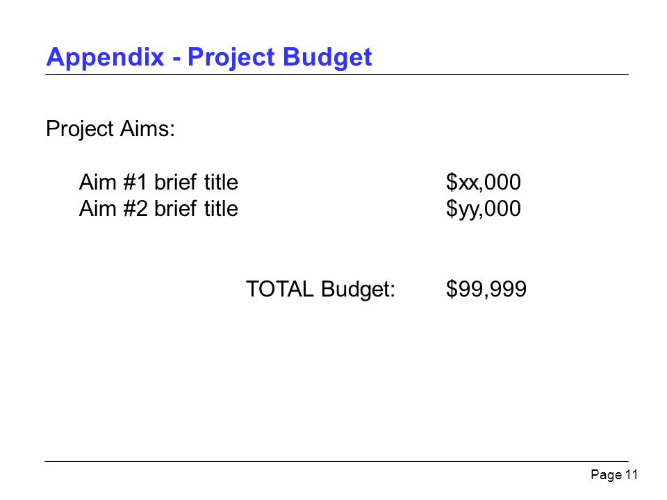 Appendix - Project Budget Page 11 Project Aims: Aim #1 brief title$xx,000 Aim #2 brief title$yy,000 TOTAL Budget:$99,999
