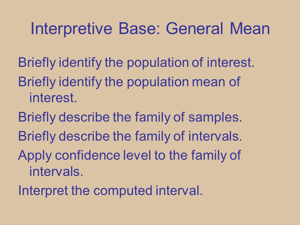 Interpretive Base: General Mean Briefly identify the population of interest.