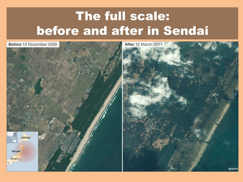 The full scale: before and after in Sendai