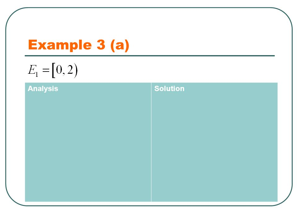 Example 3 (a) AnalysisSolution