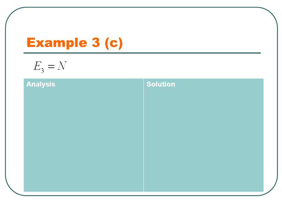 Example 3 (c) AnalysisSolution