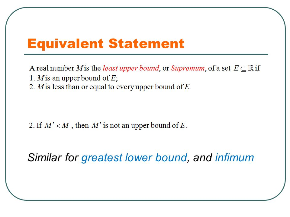 Equivalent Statement Similar for greatest lower bound, and infimum
