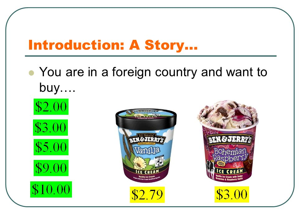 Introduction: A Story… You are in a foreign country and want to buy….