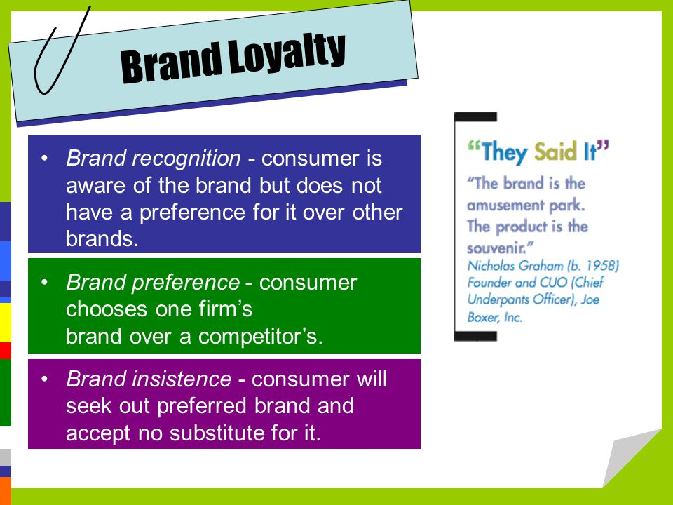 Brand Loyalty Brand recognition - consumer is aware of the brand but does not have a preference for it over other brands.