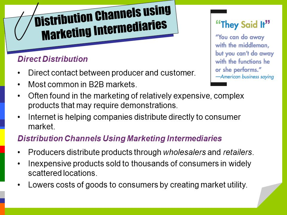 Direct Distribution Direct contact between producer and customer.