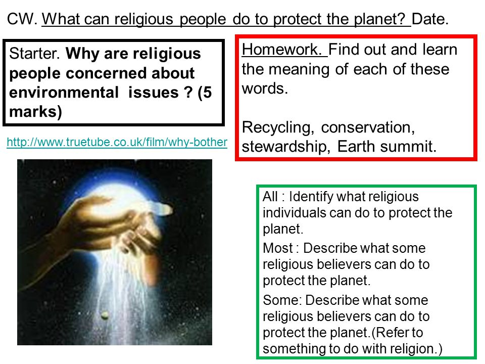 All : Identify what religious individuals can do to protect the planet. Most : Describe what some religious believers can do to protect the planet. So